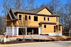 New home construction, Georgia, USA. Exterior of unfinished new home construction in Watkinsville, Georgia, USA on sunny day Royalty Free Stock Image
