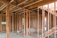 New Home Construction Wood Framing Royalty Free Stock Photos