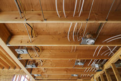 New home construction lights and ceiling, detail. New home construction lights and ceiling interior royalty free stock photo