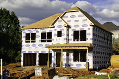 New Home Construction Site. A picture of a new two story home under construction Stock Photography