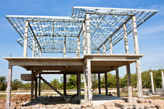 New home construction with steel roof structure Stock Photo