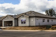 New Home Construction With Stucco Completed royalty free stock photo