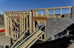 New Home Construction Wood Frame Stock Photo