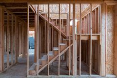 New Home Construction Wood Stud Framing Stock Photos