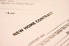New home contract stock photography