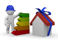 New home. 3d man with new home and energy classification Stock Images