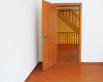 New home. The doors of the empty room on the stairs Stock Photography