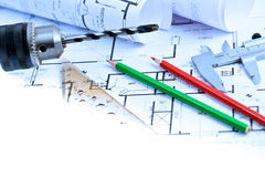 New home drawings and tools Royalty Free Stock Image