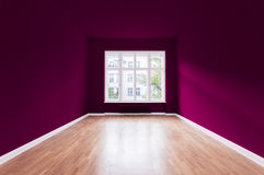 New home, empty room , violet painted walls stock photo