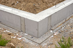 New home foundation base construction. New home foundation base concrete construction Stock Photos