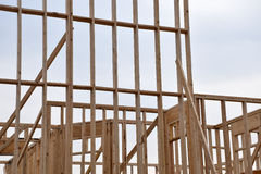 New Home Frame Construntion. A new home wood frame work construction royalty free stock photo