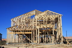 New home framing. New home under construction in the framing stage Stock Photography