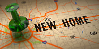 New Home - Green Pushpin on a Map Background. Stock Photo