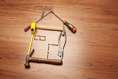 New home or house. A conceptual image about construction, house building or making a new home Stock Image