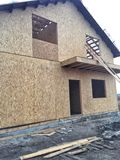 New Home House Construction Framing Lumber Builders Carpentry Craftsman.  royalty free stock images