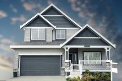 Free New Home House Exterior Dramatic Blue Blurred Sky Stock Photography - 206014702