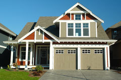 New Home House Exterior. Exterior view of a new custom built house Stock Images