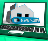 New Home House Laptop Means Finding And Purchasing Property Stock Photo