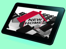 New Home House Tablet Means Buying Property Or Real Estate Stock Photo