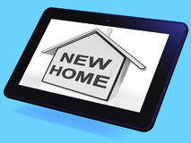 New Home House Tablet Means Buying Or Purchasing Property Stock Photos