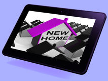 New Home House Tablet Means Buying Or Renting Out Property Stock Photography
