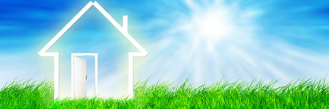 New home imagination on green meadow Royalty Free Stock Photo