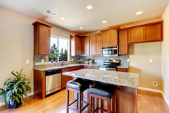 New home kitchen interior with dark brown cabinets. Royalty Free Stock Image