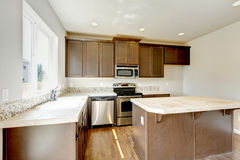 New home kitchen interior with dark brown cabinets. Royalty Free Stock Photography