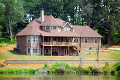 New home on lake Stock Photo