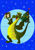 With a new home in the New Year!. Jolly Green Dragon keeps house and Christmas tree on a globe Royalty Free Stock Images