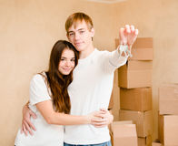 New home owners with key Stock Photos