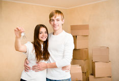 New home owners with key Stock Image