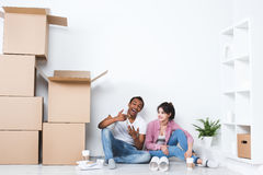 New home owners with key. Royalty Free Stock Photography