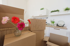 New home owners unpacking boxes, big cardboard boxes in new home. Moving to a new apartment concept royalty free stock photos