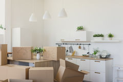 New home owners unpacking boxes, big cardboard boxes in new home. Moving to a new apartment concept royalty free stock photo