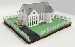 New Home and With Picket Fence 3d Stock Image