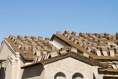 New home roof construction Royalty Free Stock Photo