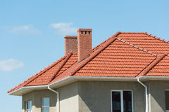 New home and roof. On sky background royalty free stock image