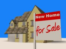 New home for sale. Image of a new build house with a for sale sign outside Royalty Free Stock Images