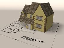 New home on a set of architect plans. New build house on a set of architect plans Royalty Free Stock Photo