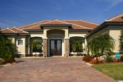 New home with stone accents stock photo
