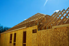 A new home under construction. In The new building house Stock Image
