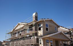 New home under construction. In California's silicon valley new home construction is still going at a rapid pace with smaller lots and wood framing Stock Images
