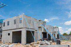 New home under construction using steel frames against cloudy sk Stock Image