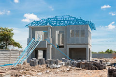 New home under construction using steel frames against cloudy sk Royalty Free Stock Photography