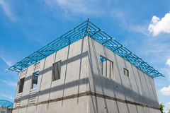 New home under construction using steel frames against cloudy sk Stock Photo