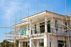 New home underconstruction with bamboo scaffold Stock Photography