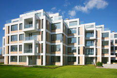 New homes. Brand new apartments with garden stock images