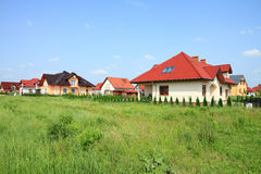 New homes. Generic residential suburb of new homes in Opolskie voivodeship (region) of Poland. Housing in Europe Royalty Free Stock Photo