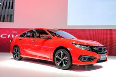 New Honda CIVIC red color. Nonthaburi-Thailand DEC 5 2017: New Honda CIVIC red color on display at The 34th Thailand International Motor Expo 2017 on DEC 1 - 11 stock photography